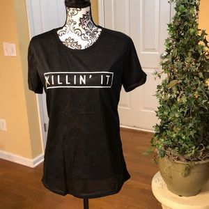 Tops - KILLIN' IT Black Tee with white letters